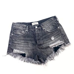 Grey Hi-Rise Distressed Free People Denim Shorts